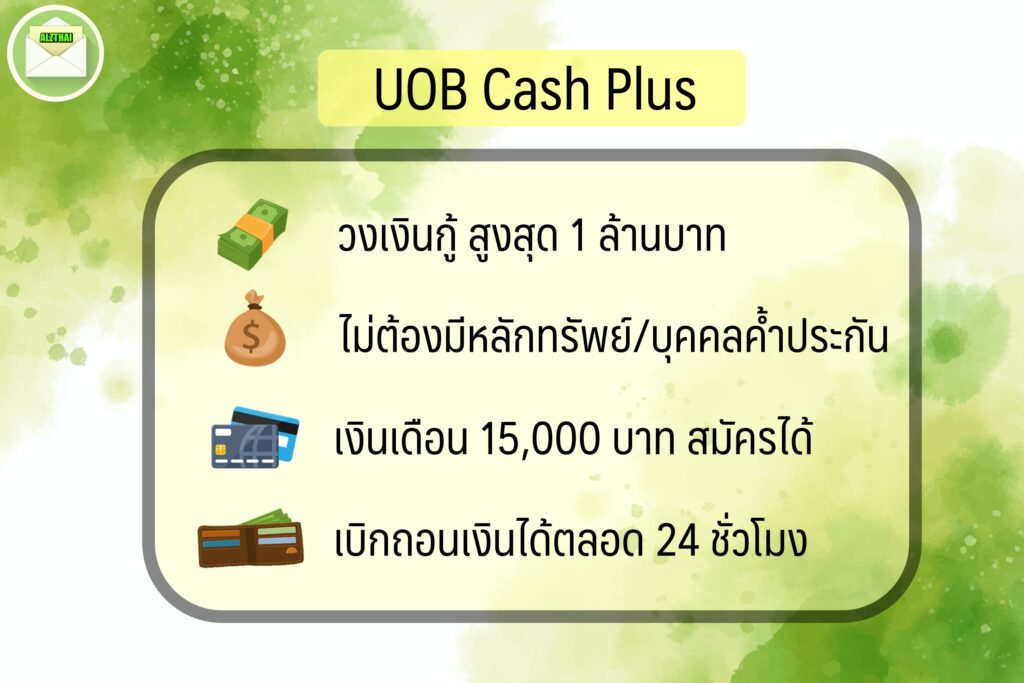 สินเชื่อเงินเดือนน้อย 2563 สินเชื่อ อนุมัติง่าย เงินก้อน 2020 บัตรกดเงินสด ยูโอบี uob cash plus