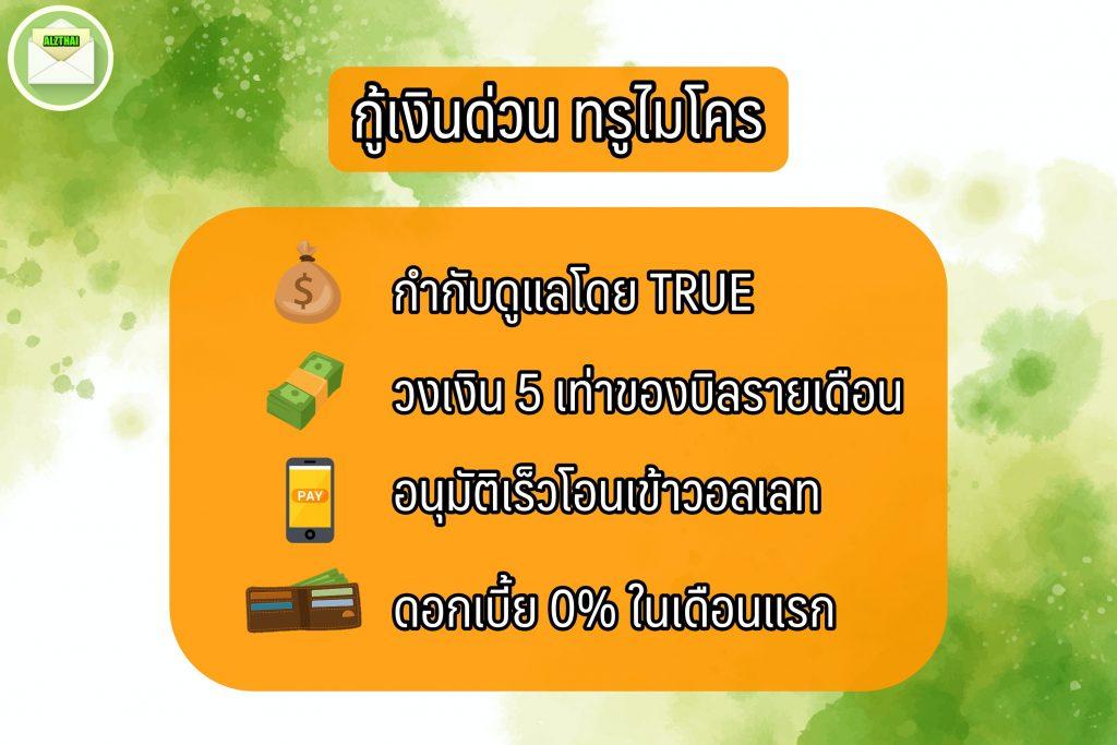 กู้เงินทรู Micro Credit เงินด่วน 10 นาที โอนเข้าบัญชี 2564